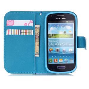 Knížkové PU kožené puzdro pre Samsung Galaxy S3 mini - farebné kvety - 7