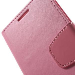 Diary PU kožené puzdro pre mobil Samsung Galaxy S4 - ružové - 7
