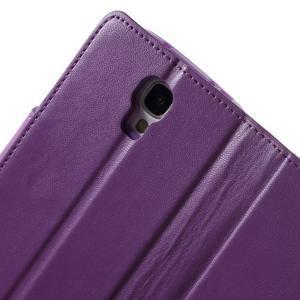 Diary PU kožené puzdro pre mobil Samsung Galaxy S4 - fialové - 7