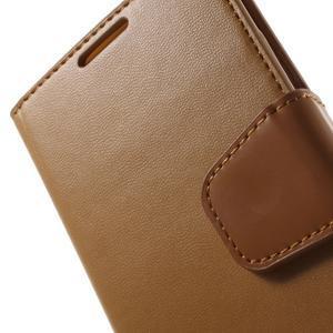 Diary PU kožené puzdro pre mobil Samsung Galaxy S4 - hnedé - 7