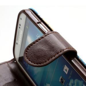 Květinové pouzdro na mobil Samsung Galaxy S4 - modré pozadí - 7