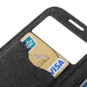 Okýnkové peňaženkové puzdro pre mobil Samsung Galaxy S4 - čierne - 7