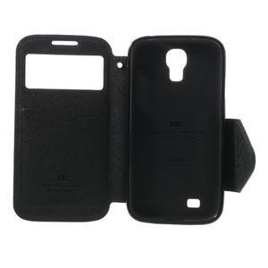 Okýnkové peňaženkové puzdro pre mobil Samsung Galaxy S4 - tmavomodré - 7