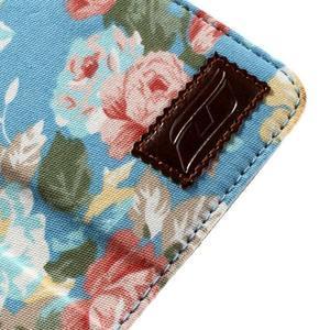 Kvetinkové puzdro pre mobil Samsung Galaxy S4 mini - modré pozadie - 7