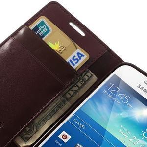 Sonata PU kožené pouzdro na mobil Samsung Galaxy S4 mini - vínové - 7