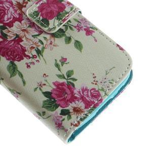 Style peňaženkové puzdro pre Samsung Galaxy S4 mini - kvietky - 7