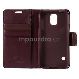 Elegantní peňaženkové puzdro pre Samsung Galaxy S5 - vínové - 7