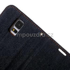 Jeans peňaženkové puzdro pre mobil Samsung Galaxy S5 - čiernomodré - 7