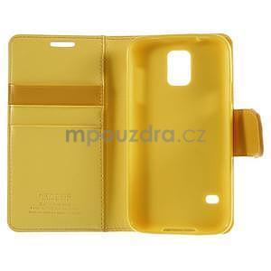 Elegantní peňaženkové puzdro pre Samsung Galaxy S5 - žlté - 7