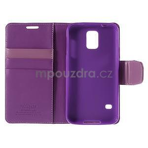 Elegantní peňaženkové puzdro pre Samsung Galaxy S5 - fialové - 7