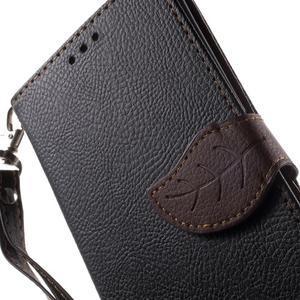 Leaf PU kožené pouzdro na mobil Sony Xperia M4 Aqua - černé - 7