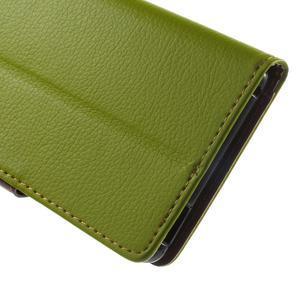 Leaf PU kožené puzdro pre mobil Sony Xperia M4 Aqua - zelené - 7
