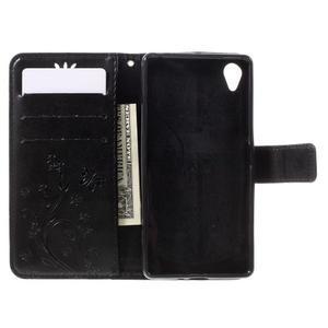 Butterfly PU kožené pouzdro na Sony Xperia X - černé - 7