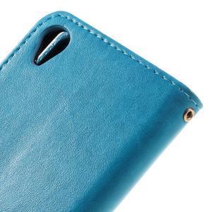 Butterfly PU kožené puzdro pre Sony Xperia X - modré - 7