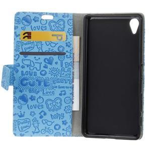 Cartoo Peňaženkové puzdro pre Sony Xperia X - modré - 7