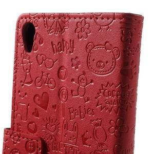 Cartoo Peňaženkové puzdro pre mobil Sony Xperia XA - červené - 7