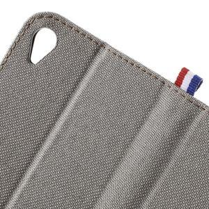 Denim textilní/koženkové pouzdro na Sony Xperia XA - šedé - 7