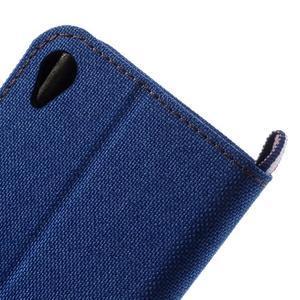 Denim textilní/koženkové pouzdro na Sony Xperia XA - modré - 7