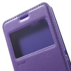 Royal PU kožené pouzdro s okýnkem na Sony Xperia XA - fialové - 7