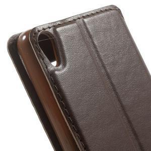 Royal PU kožené puzdro s okienkom na Sony Xperia XA - hnedé - 7