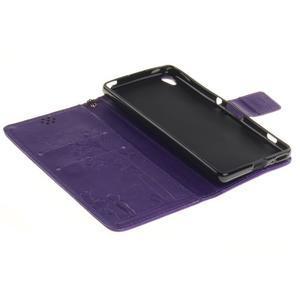 Dandely PU kožené puzdro pre mobil Sony Xperia XA - fialové - 7