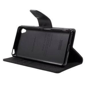 Canvas PU kožené/textilné puzdro pre mobil Sony Xperia XA - čierne - 7