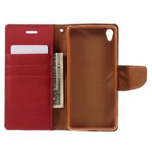 Canvas PU kožené/textilné puzdro pre mobil Sony Xperia XA - červené - 7