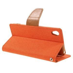 Canvas PU kožené/textilné puzdro pre mobil Sony Xperia XA - oranžové - 7