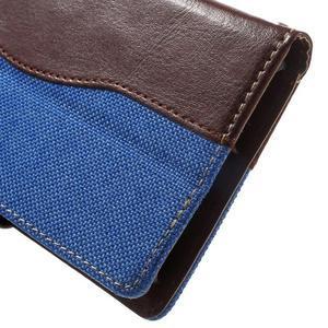 Jeansy PU kožené/textilné puzdro pre Sony Xperia XA - modré - 7