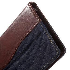 Jeansy PU kožené/textilné puzdro pre Sony Xperia XA - tmavomodré - 7