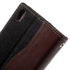 Jeansy PU kožené/textilné puzdro pre Sony Xperia XA - čierne - 7