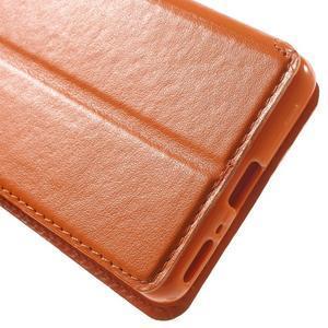 Royal PU kožené puzdro s okienkom na Sony Xperia XA - oranžové - 7