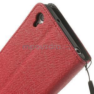 Štýlové Peňaženkové puzdro pre Sony Xperia Z2 - červené/čierne - 7
