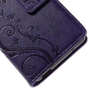 Butterfly PU kožené puzdro pre mobil Sony Xperia Z3 Compact - fialové - 7
