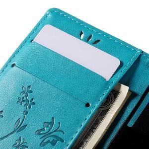 Butterfly PU kožené puzdro pre mobil Sony Xperia Z3 Compact - modré - 7