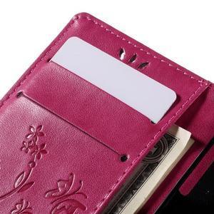 Butterfly PU kožené puzdro pre mobil Sony Xperia Z3 Compact - rose - 7