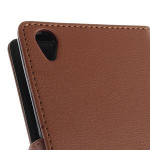 Luxury PU kožené pouzdro na mobil Sony Xperia Z3 - hnědé - 7