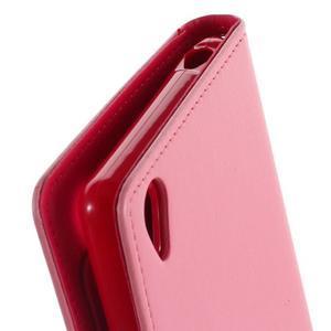 Luxury PU kožené puzdro pre mobil Sony Xperia Z3 - ružové - 7