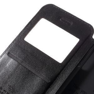 PU kožené pouzdro s okýnkem na Samsung Galaxy A3 (2016) - černé - 7
