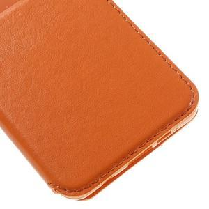 PU kožené pouzdro s okýnkem na Samsung Galaxy A3 (2016) - oranžové - 7