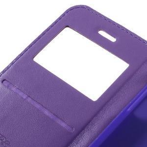 PU kožené puzdro s okienkom pre Samsung Galaxy A3 (2016) - fialové - 7
