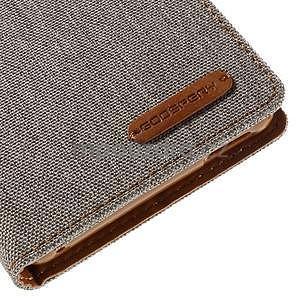 Canvas textilní/koženkové pouzdro na Sony Xperia M4 Aqua - šedé - 7