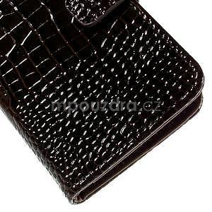 Croco peňaženkové puzdro s krokodílím motívom na Microsoft Lumia 640 - tmavohnedé - 7