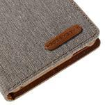 Canvas textilné/koženkové puzdro pre Sony Xperia M4 Aqua - sivé - 7/7