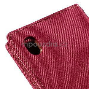 Canvas textilné/koženkové puzdro pre Sony Xperia M4 Aqua - červené - 7