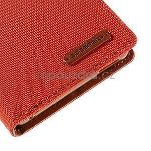 Canvas textilné/koženkové puzdro pre Sony Xperia M4 Aqua - oranžové - 7
