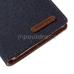 Canvas textilné/koženkové puzdro pre Sony Xperia M4 Aqua - tmavomodré - 7