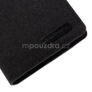 Canvas textilné/koženkové puzdro pre Sony Xperia M4 Aqua - čierne - 7