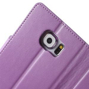 Diary PU kožené puzdro pre mobil Samsung Galaxy S6 -fialové - 7