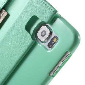 Diary PU kožené puzdro na mobil Samsung Galaxy S6 -cyan - 7
